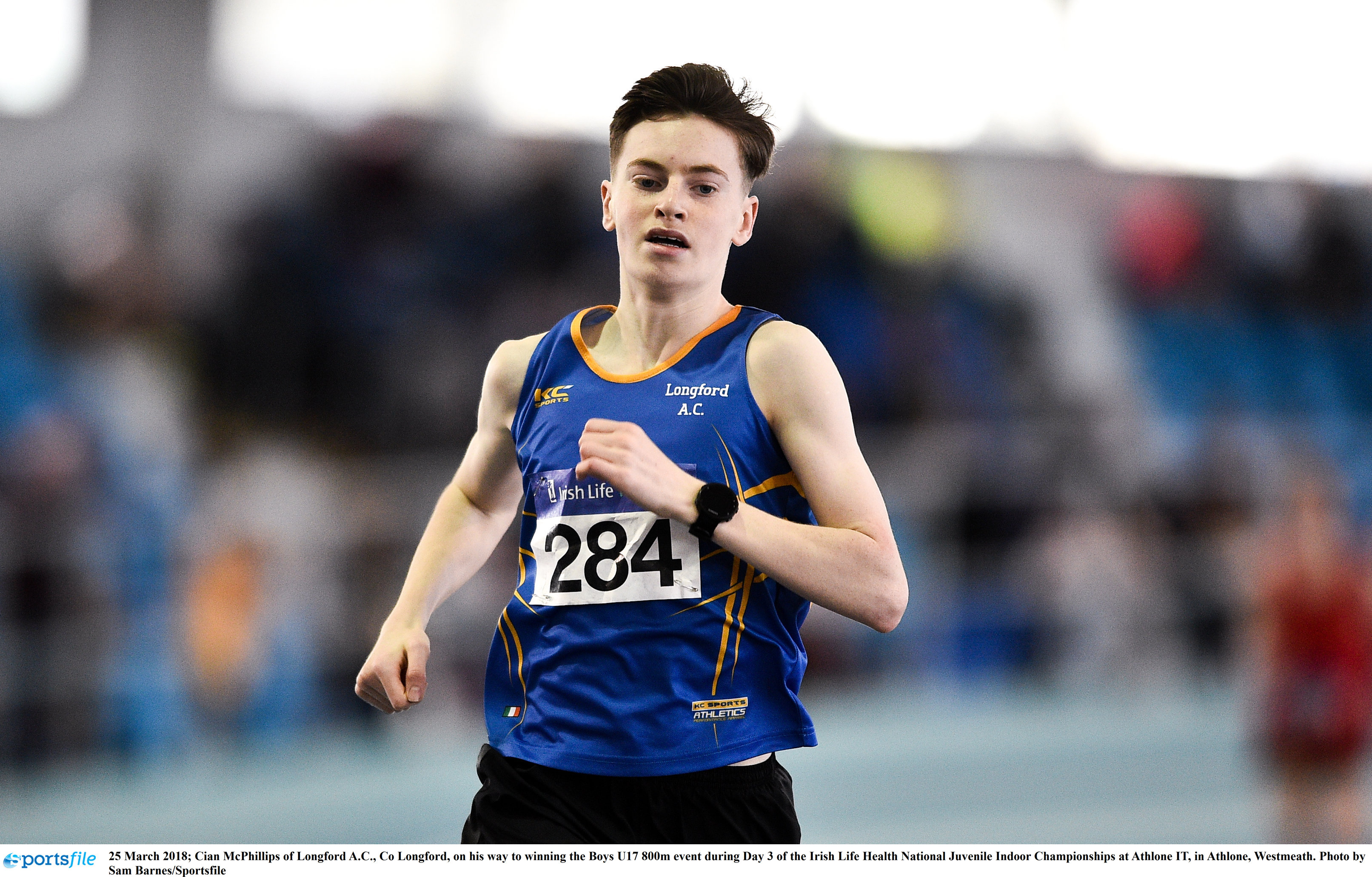 Cian McPhillips, the new Irish Junior 1500m Indoor record holder