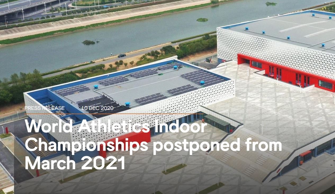 World Athletics Indoor Championships postponed from March 2021